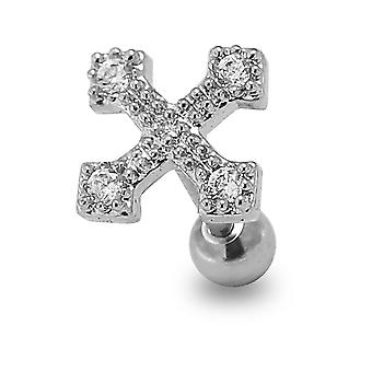 Micro Setting Cz Stone Irish Cross Top 16 Gauge 316L Surgical Steel Cartilage Helix Tragus Piercing