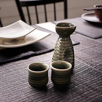 Handmade Green Sake Set With 2 Cups