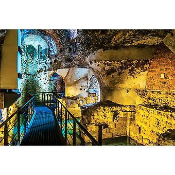 Seinämaalaus sisäinen kulku rooman teatterin sisällä Cataniassa