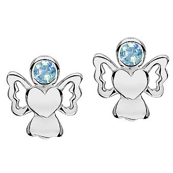 Jo For Girls Sterling Silver March Simulated Birthstone Angel Stud Earrings