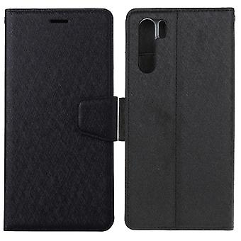 Pour OPPO A91 / F15 Silk Texture Horizontal Flip Leather Case with Holder & Fentes de carte & Portefeuille & Cadre photo (noir)
