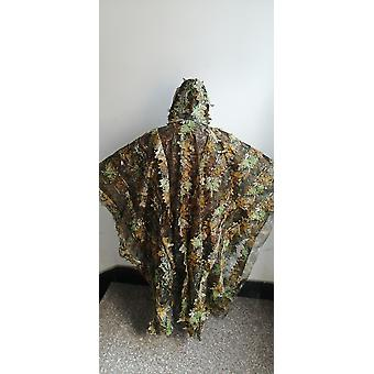 Leafy Poncho Jungle Ghillie Suits, Hunting Camouflage 3d Bionic Leaf, Mesh