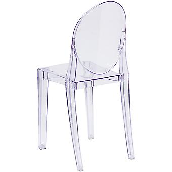 Transparent Crystal Ghost Chair With Oval Back Modern Makeup Dressing Dining