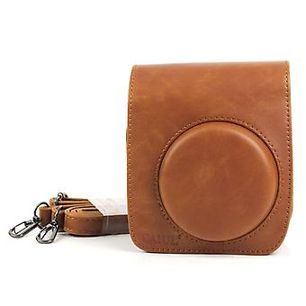 PU Leather Camera Protective bag for FUJIFILM Instax Mini 90 Camera, with Adjustable Shoulder Strap(Brown)
