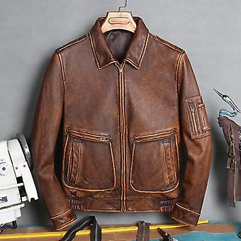 Plus Bomber Leather Coat Thick Cowhide Jacket Genuine Vintage Clothes