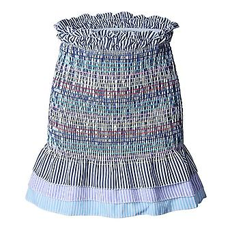 Femmes Fashion Flower Print Mini Jupes Elastic Waist Tiered Ruffle Short High