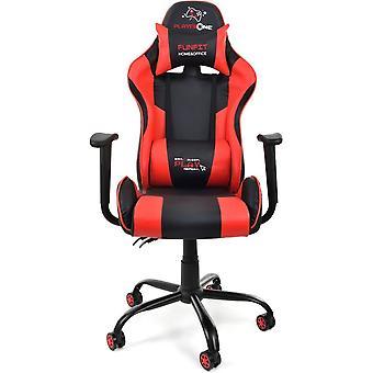 Krzesło do gry - czarna i czerwona skóra ECO - regulowana - z poduszkami