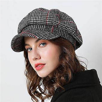 Baseball Cap For Winter Female Cotton Hats, Plaid Vintage Fashion, Casual Boina