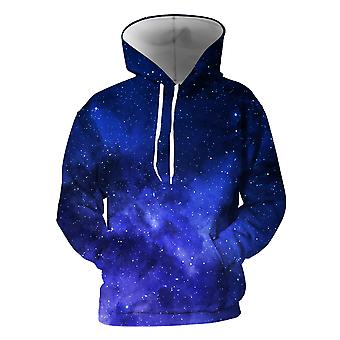 Mens 3d Colorful Galaxy Printed Royal Blue Hoodies With Pockets