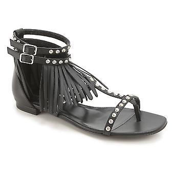 Saint Laurent Women's Mode flach besetzt Sandalen aus schwarzem Leder mit Fransen
