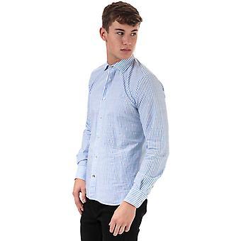 Men's Henri Lloyd Striped Fancy Cotton Fitted Shirt in Blue