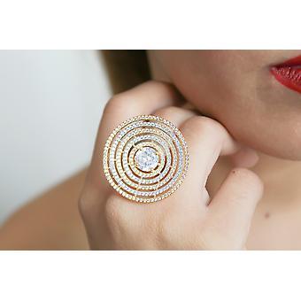 18k خاتم مطلي بالذهب مع أحجار الزركون