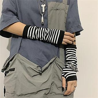 Black Punk Unisex Long Fingerless Gloves, Cuff Ninja Sport, Outdoor, Elbow
