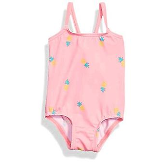 Essentials Baby Girl's One-Piece Swimsuit, Pink Pineapple, 24M