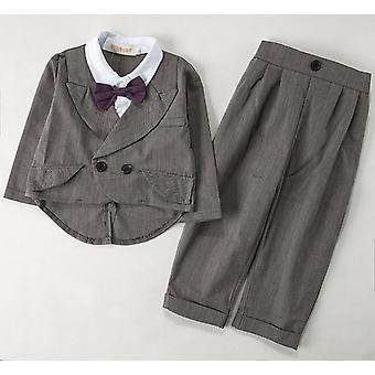 Children's Tuxedo Flower's Suit, Grey Stripe For Wedding, Kids Prom