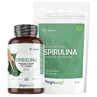 Spirulina Super Pack - Algae Superfood Powder & Tablets - 200g Powder & 375 400mg Tablets