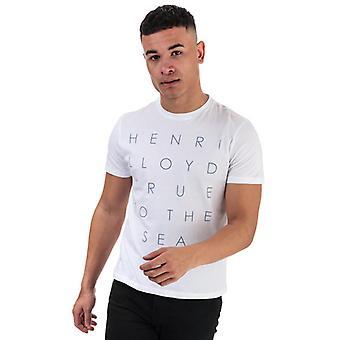 Men & apos;s Henri Lloyd Tryckt rund hals T-shirt i vitt