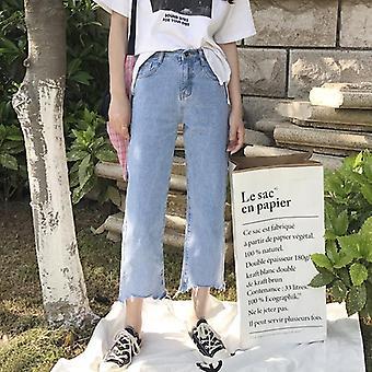 ג'ינס ג'ינס מוצק ציצית ליידי אלגנטי רחב רגל מכנסיים מכנסיים גבוהים מותניים