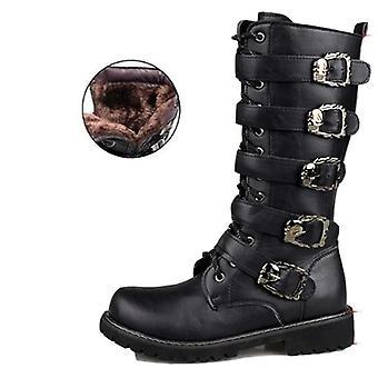 Skórzane buty do gry w kształcie łydki, buty bojowe i pas gotycki, buty skull-punk