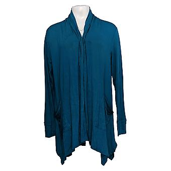 Soft & Cozy Women's Sweater Cascading Wrap Thumbhole Cuffs Blue 663-482