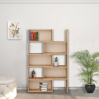 Biblioteca de decoración oak color, blanco en la pizarra de melamina, cerrado W72xD22xH180 cm, abierto W140xD22xH180 cm