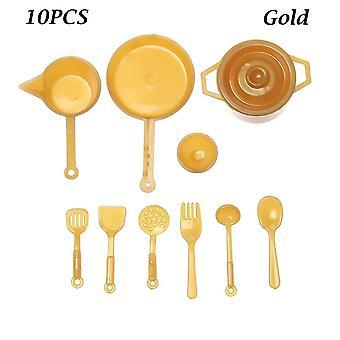 Miniatyr kjøkkenutstyr kokekar mat pan gaffel pot spille tilbehør