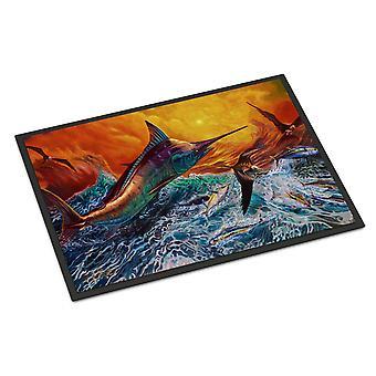 Caroline's Treasures Reflective Chaos Blue Marlin Tappetino interno o esterno 24x36 zerbini, Multicolor