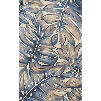3'x4' Blue Hand Tufted Oversized Tropical Leaves Indoor Area Rug
