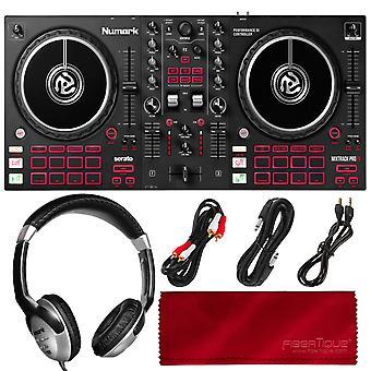 Numark mixtrack platinum fx 4-deck serato dj controller med jogginghjulsdisplayer och fx paddlar (svart), med hörlurar och viktiga kablar bunt