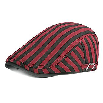 Men Women Newsboy-cap Striped Beret Cotton Gatsby Ivy Cabbie Flat Cap For Sping And Summer