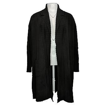 Isaac Mizrahi Live! Women's Sweater Open Collar Long Cardigan Black A389622