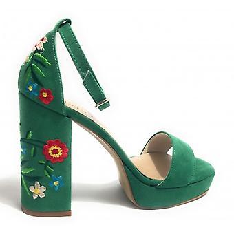 Women's Shoes Sandalo Elite Tc 100 Pl 20 Black Leather Green Flower Ds17mu01