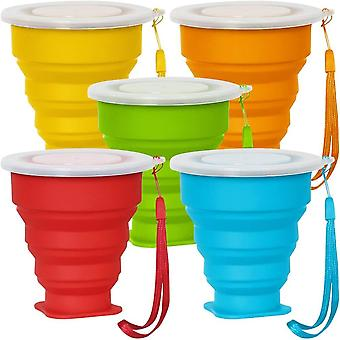 DZK 5 Pack Collapsible Travel Cup with Lid, 6Oz Silicone Foldable Drinking Mug, BPA Free Retractable