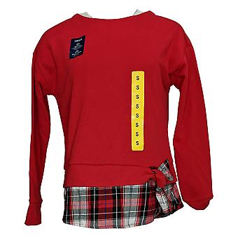 Izod Women's Top Long Sleeve Round Neck Pull Over Red