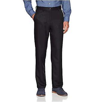 Essentials Men's Expandable Waist Classic-Fit Flat-Front Dress Pants, Black, 30W x 32L