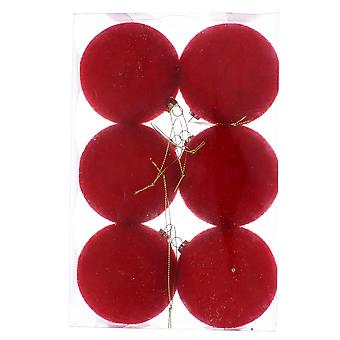 6 Red 8cm Flocked Shatterproof Christmas Tree Bauble Decorations