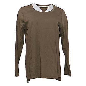 Isaac Mizrahi En direct! Femmes's Top Long Sleeve Jersey Brown A389762