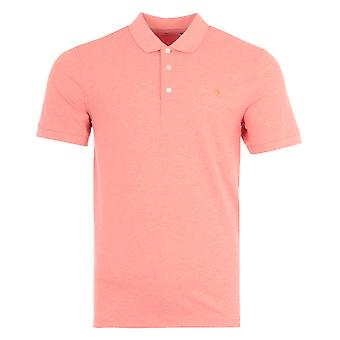 Farah Blanes Organic Cotton Slim Fit Polo Shirt - Coral Marl