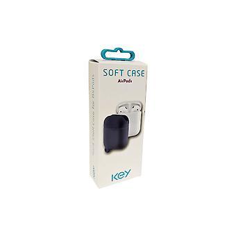 KEY Silicone Soft Case for Apple Airpods (1st/2nd Gen) - Dark Denim