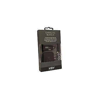 KEY Micro USB Charging Bundle, 3.4A Dual Output Micro Car & Wall Charger Combo