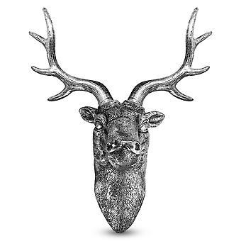 Escultura de pared de cabeza de ciervo ciervo ciervo | Plata M&W