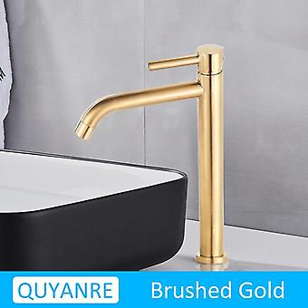 Black Chrome Tall Basin Sink Faucet Slim Bathroom Water Mixer Tap Hot Cold