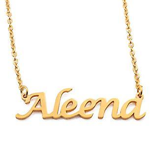 KL Kigu Aleena - Naisten kaulakoru nimi, kullattu, nimi, muodikas, lahja tyttöystävälle, äidille, sisko