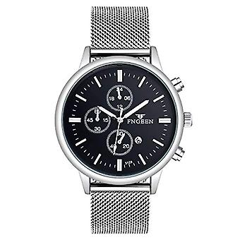 SUPBRO Fashionable, ultra-thin men's watches with quartz dial, with mesh strap, silver