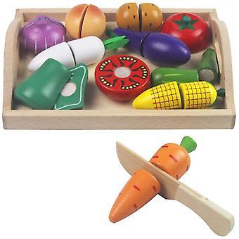 FengChun Holz Spielzeug Essen Holz Gemüse Spielzeug vorgeben Lebensmittel Set Holz schneiden Lebensmittel Kinder Rollenspiel