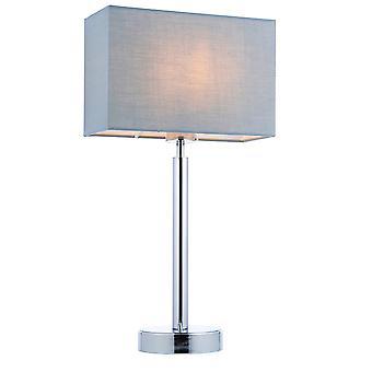 Bordlampe forkrommet plate, grått stoff rektangulær nyanse med usb-kontakt