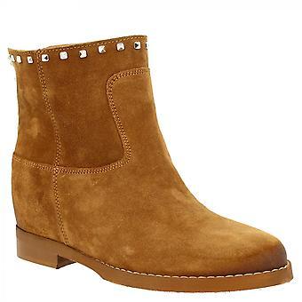 أحذية ليوناردو أحذية أحذية الكاحل المصنوعة يدويا مع منصة داخلية في جلد جلد الغزال تان مع ترصيع