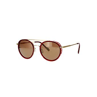Serengeti Geary SS526004 Red Streacky Acetate with Bold Gold/Mineral Polarized Drivers Gold Sunglasses