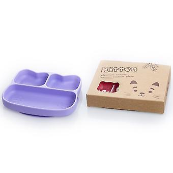 Cat purple children's silicone dinner plate, food divider bowl az14847