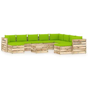 vidaXL 11 pcs. Garden Lounge Set with Cushion Green Impregnated Wood